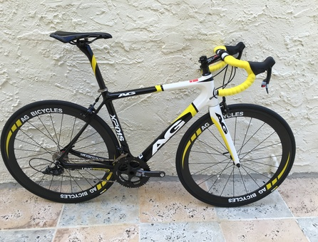 closeout bikes, 2014 AG Carbon Bikes XP01S Limited Edition Color yellow black white, closeout bicycles